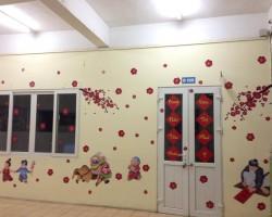 Decal dán tường trang trí tết đẹp ấm áp T08