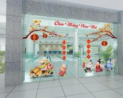 Decal trang trí tết cho cửa chính tòa nhà, công ty T07